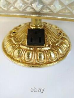 Hollywood Regency Crystal Diamond Glass Gold Wall Lamp Vanily Bathroom MCM VTG