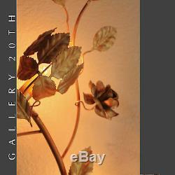 Hollywood Regency! MID Century Gold Rose Branch Wall Art Lamp! Sconce 1950's Vtg