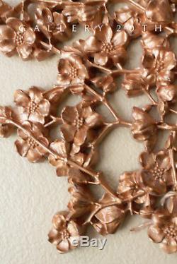 Hollywood Regency! MID Century Rose Gold Wall Art! Lotus Blossom 50's Vtg Flower