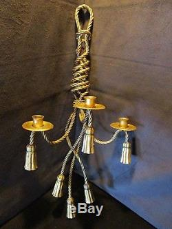 Hollywood Regency Tole Metal Gold Gilt Rope 3 Candle 6 Tassel Wall Sconce Italy
