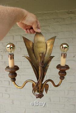 Hollywood regency PAIR Metal gold gilt wood wall lights sconces attr. Jansen