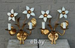 Hollywood regency mid century metal gold gilt pair sconces wall lights attr KOGL