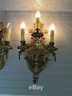 Huge Pair Vintage Antique Spanish Brass Three Arm Wall Sconces 17 Tall