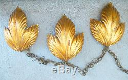 ITALY WALL SCONCE LIGHTS GOLD LEAVES S. SALVADOR Trio Wall Sconces Leaves Vtg