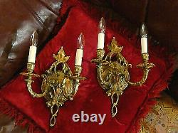 Impressing, Rare PAIR of Vintage European Wall Sconce Lamps Double Candleholdrs