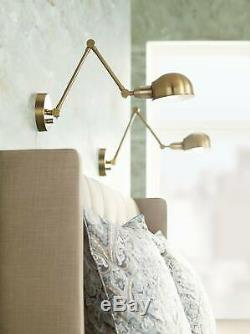 Industrial Wall Lamp Set of 2 LED Antique Brass Plug-In Adjustable for Bedroom