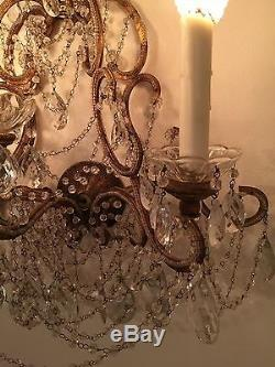 Italian 19th Century Gilded Crystal and Beaded Wall Sconces