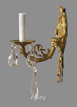 Italian Brass Amp Crystal Sconces C1950 Vintage Antique
