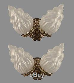 Italian Brass & Glass Flame Shade Sconces c1950 Vintage Antique Restored Wall