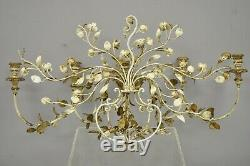 Italian Hollywood Regency Gold Gilt Iron Tole Metal 5 Arm Candelabra Wall Sconce