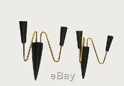 Italian Mid Century Wall Sconces Metal Cone 2 Arm Wall Lamps 1950s brass black