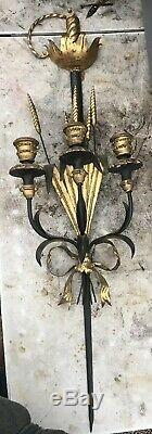 Italian Regency Style Black & Gold Sword & Wheat Palladio Candle Wall Sconce