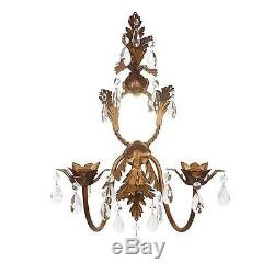 Jubilee Two Arm French Candle Crystal Antique Gold Wall Sconce NEW