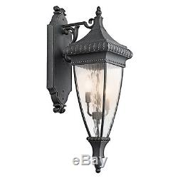 Kichler 49132BKG Venetian Rain Black WithGold 3 Light Outdoor Wall Sconce