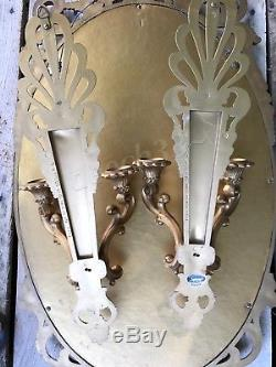 LARGE Vintage Syroco Gold Scroll Hollywood Regency Ornate Wall Mirror + Sconces