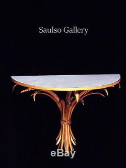 Large 27 Vintage Italian marble Maison BaguèsTole Gilt Wheat Wall table Sconce