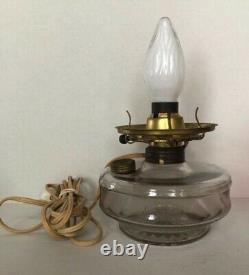 Large Antique Fenton Cranberry Art Glass Oil Lamp In Cast Iron Gold Wall Sconce