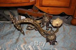 Large Antique Victorian 3 Arm Candelabra Wall Sconce Light Fixture-#2-Crystals
