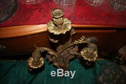 Large Antique Victorian Dore Bronze Wall Sconce Candle Holder-Holds 3 Candles