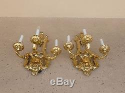 Large Bold Heavy Bronze French Louis 16th Style Wall Sconces Miami Beach Mansion