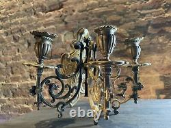 Large Brass Antique Wall Sconce / Wall Light Three Arm / Ornate Detail