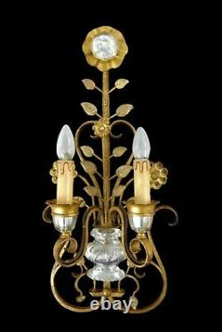 Large Hollywood Regency Flower Sconce Wall Light From Maison Bagues 1960s/70s