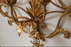 Large Italian Gold Gilt Bronze 3 Arm Wall Sconce Giltwood Fleur De Lis Flowers