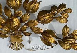Large Mid-Century Hollywood Regency Italy Tole Gold Tone Italian Wall Sconce