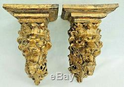 Large Pair Vintage Gold Gilt Figural LION Hanging Floating Wall Shelf Sconces