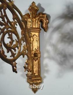 Large Pair of Antique French Gothic Gilt Bronze Wall Brackets/Sconces