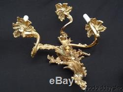 Large Pair of Rococo Gold Gilt Sconces 25 x 15 Wall Sconce x 2