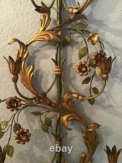 Large Palladio-italy- 7 Light Candle Wall Sconce- 50 Gilt/green Floral Vine