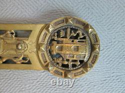 Large Vintage Brass T. Brisson Wall Sconce Shelf Antique Metal Espalgne Flander