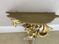 Large Vintage Florentine Hand carved Wood Gold Gilt Corbel Wall shelf/sconce