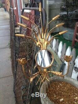 Large Vintage Gold Gilt Metal Tole Wall Sconce Candle Holders Mirror Italian