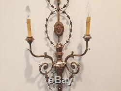 Large Vintage Italian Gold Painted Electric Candle Floral Wall Sconce Candelabra