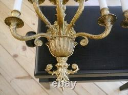 Large wall lamps pair brass sconces old appliques 3 lights Lámparas de pared
