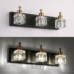 Led Vanity Wall Lights Fixture Sconce Modern Bathroom Crystal Black Gold Glass