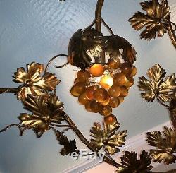 Lg VTG Italian Hollywood Regency Murano Grape Clusters Leaves Light Wall Sconce