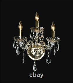 Lighting fixture 3 Lights Crystal Wall Sconce Gold
