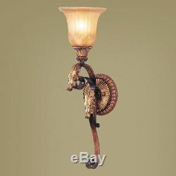 Livex 1 Light Wall Sconce Lighting Fixture, Verona Bronze, Rustic Art Glass
