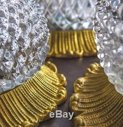 Lot Of 3 Gilt Crystal Limburg Labeled Sconce Wall Ceiling Flush Mount Lights 60
