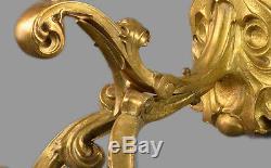 MASSIVE Dore Bronze French Sconces c1910 Gold Vintage Antique Wall Lights