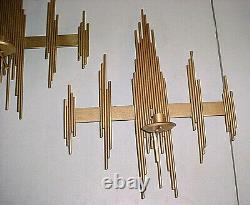 MCM Metal Brutalist Absract Wall Art Candle Holder Sconce Jere Style Gold 21x17