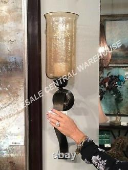MID Century XXL 30 Antiqued Restoration Metal Glass Globe Wall Candle Sconce