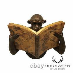 Maitland Smith Monkey Reading a Book Wall Sconce