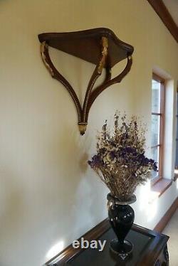 Maitland Smith Wall Shelf Bracket Mount Sconce Mahogany Wood Gold Leaf Decor