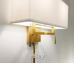 Matte Ant. Gold Modern Wall Sconce Fixture with Rect. Shade, Hardwire or Plug-In