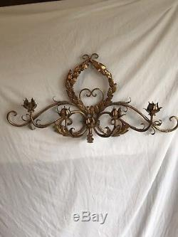 Mid-Century Hollywood Regency Italian Gilt Metal 5 Candle Wall Sconce