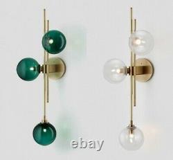 Mid-Century Modern Decorative Globe Wall Sconce Green Glass Wall Light Gold